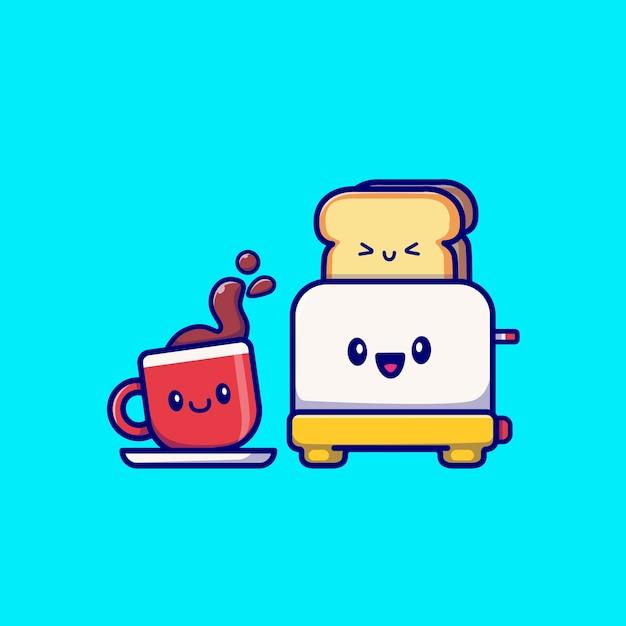 Carino caffè con tostapane pane fumetto illustrazione vettoriale. la colazione cibo concetto vettore isolato. stile cartone animato piatto Vettore gratuito