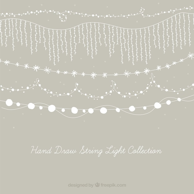 Cute collection of decorative string lights Free Vector