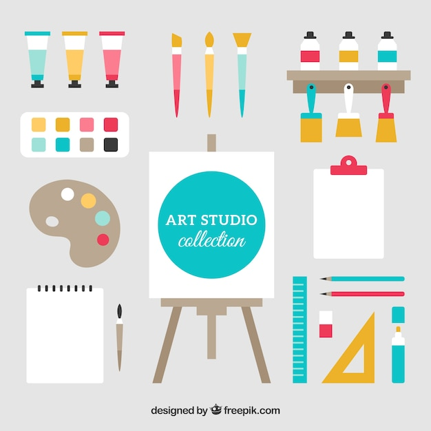 Cute collection of elements for an art studio Free Vector
