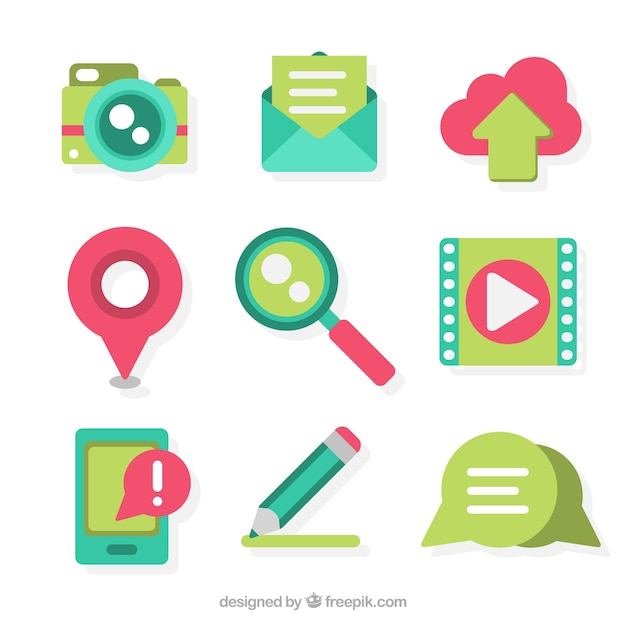 Cute collection of elements for blogs Free Vector