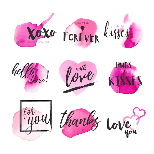 Cute collection of messages with pink watercolor splashes Free Vector
