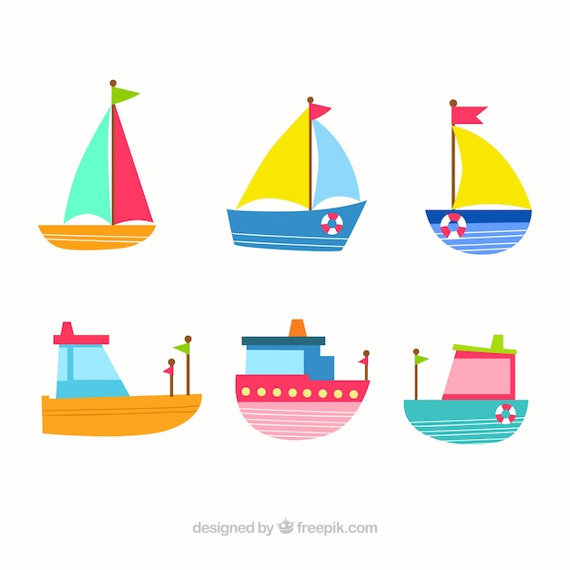 Cute collection of flat boats with different\ colors
