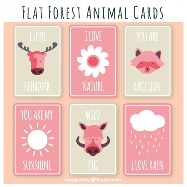 Cute collection of forest animals cards in\ pink