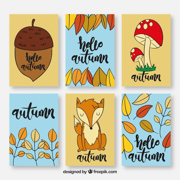 Cute collection of hand drawn autumn cards