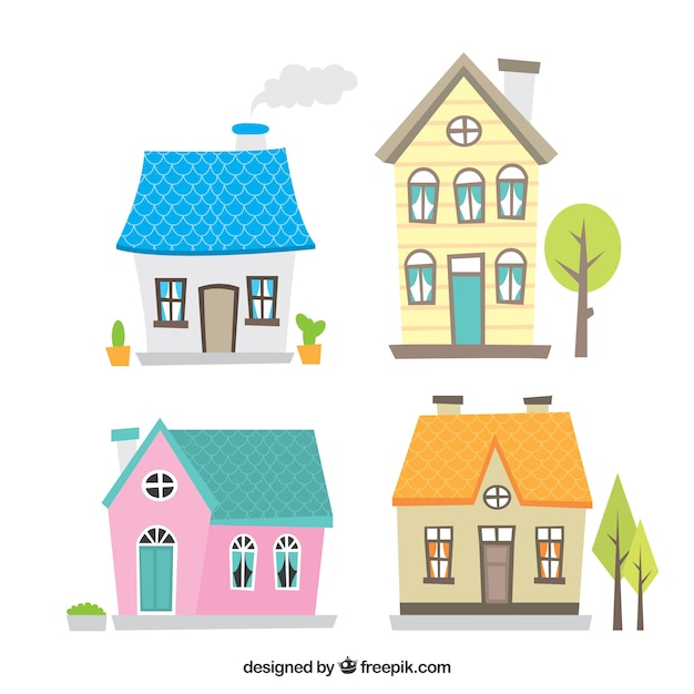 Cute collection of hand-drawn houses Free Vector