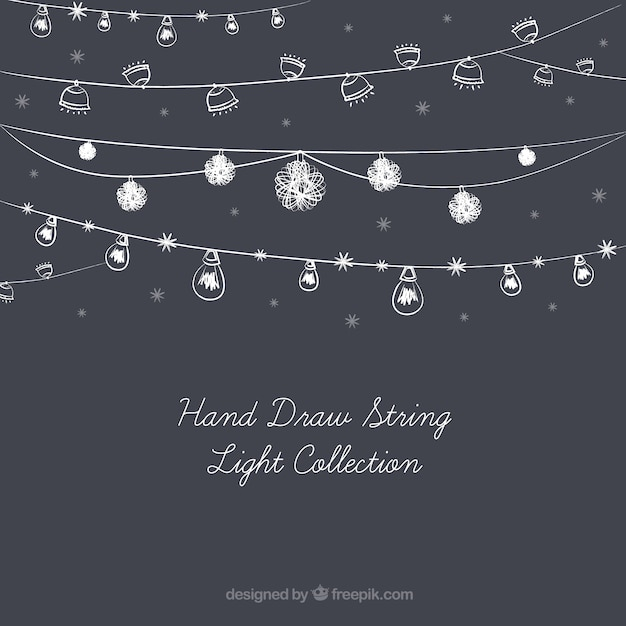 Cute collection of hand-drawn string lights Vector Free Download