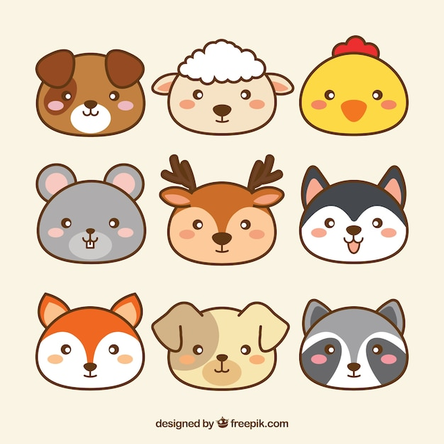 cute collection of kawaii animals vector free download