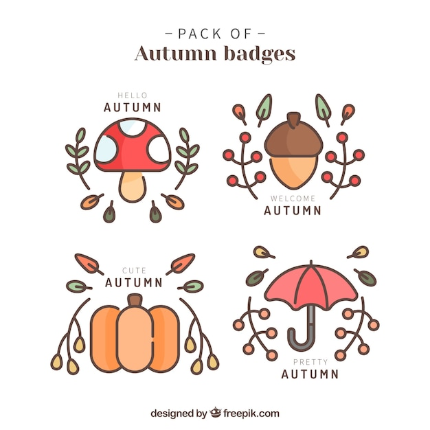 Cute collection of lovely autumn badges