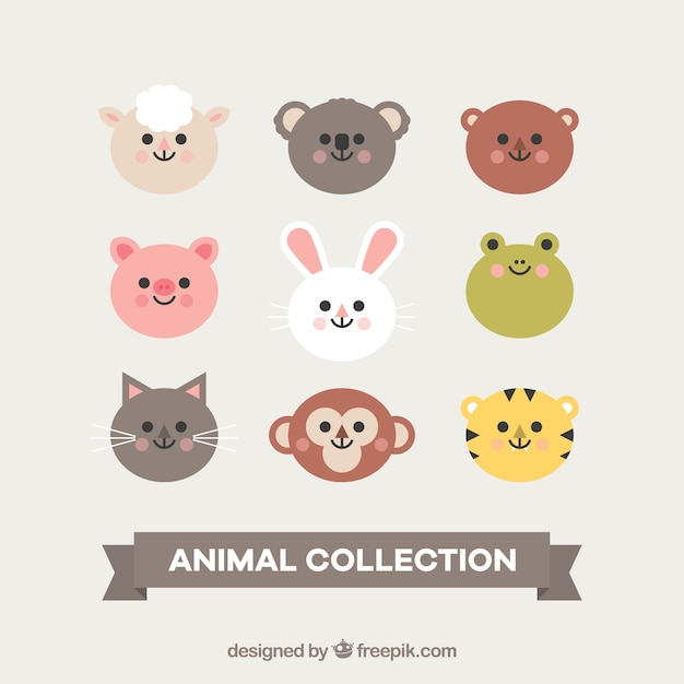 Cute collection of smiley animal faces