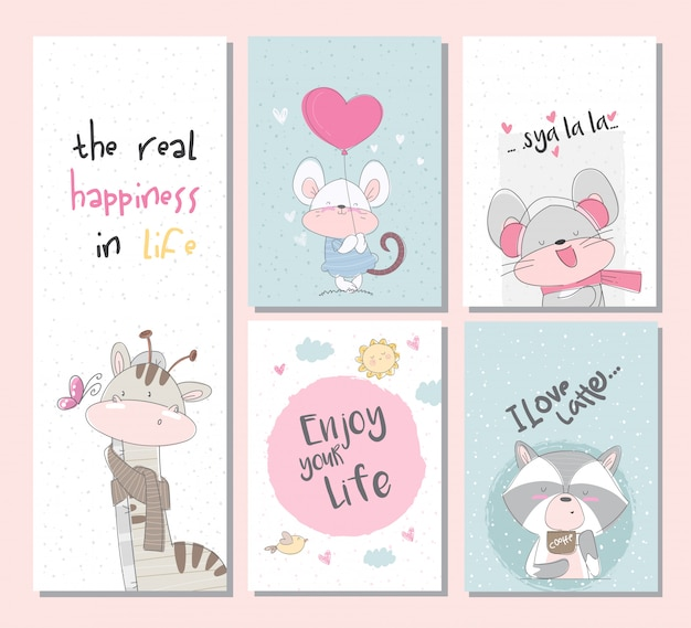 Cute collection set animal cards set with giraffe raccoon mouse Premium Vector