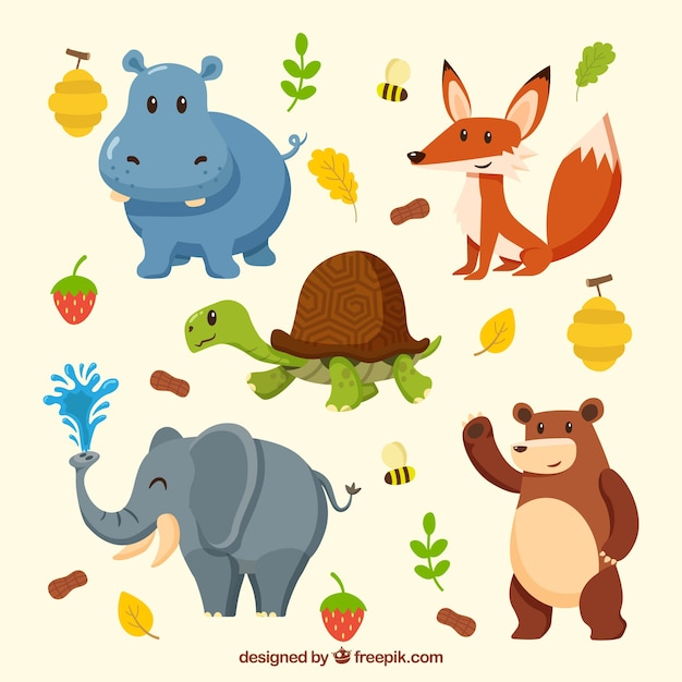 Cute collection of smiley animals Free Vector