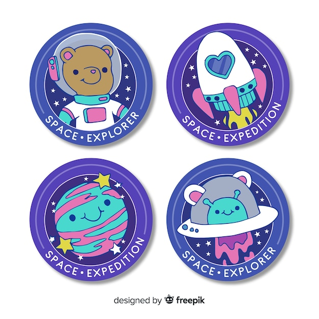 Cute collection of space sticker Free Vector