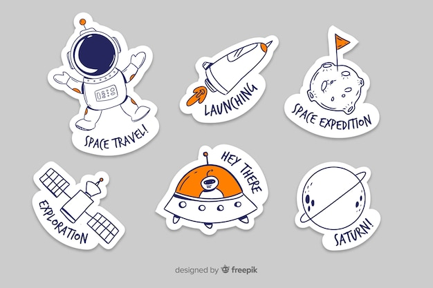 Cute collection of space stickers Premium Vector