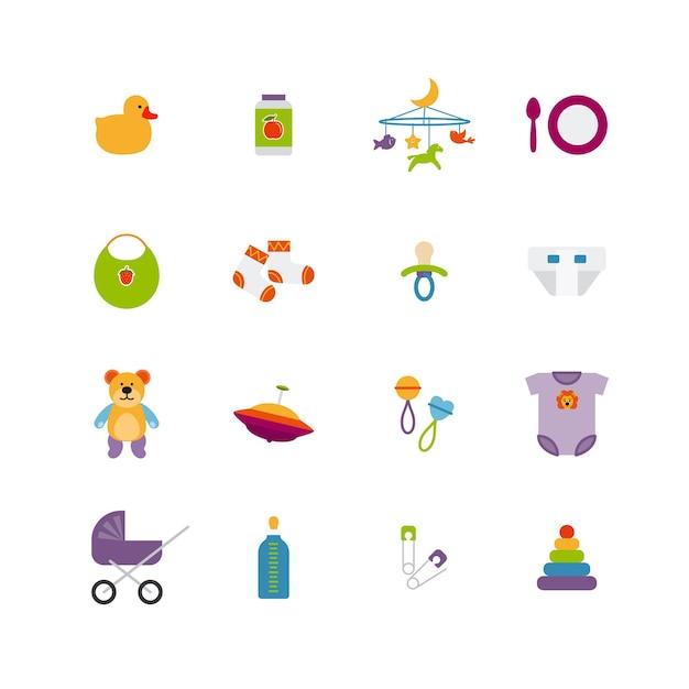Set di icone carino bambino di colore. giocattolo e infanzia, passeggino e anatra, illustrazione vettoriale Vettore gratuito