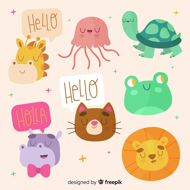 Cute colorful animal collection Free Vector