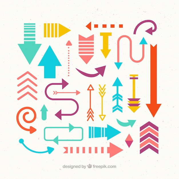Cute and colorful arrows collection Free Vector