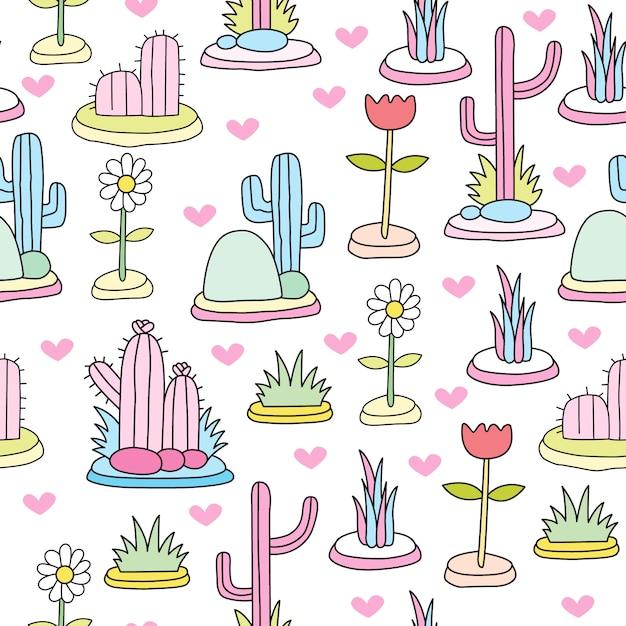 Cute colorful cactus seamless pattern Premium Vector