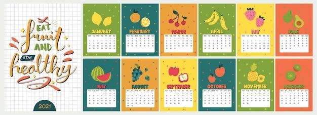 Cute Colorful Calendar. 매월 재미있는 스칸디나비아 스타일 과일 삽화가 포함 된 연간 식사 플래너 프리미엄 벡터