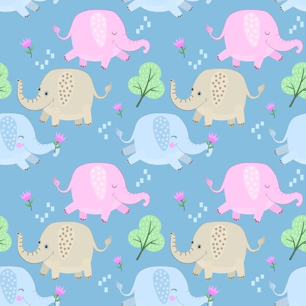 Cute colorful cartoon elephant seamless pattern. Premium Vector