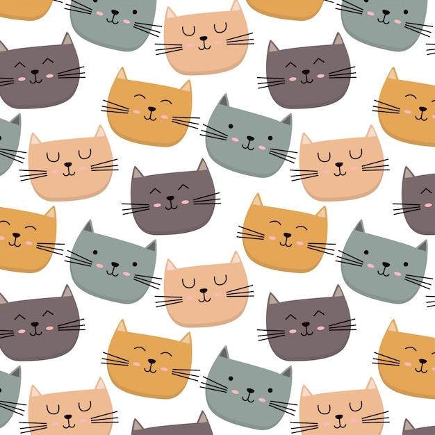 Cute colorful cat pattern Premium Vector