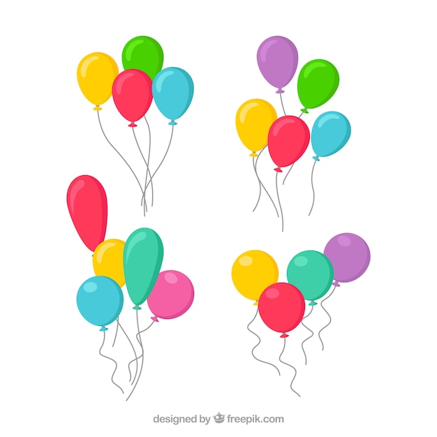 Cute and colorful decorative balloons Premium Vector