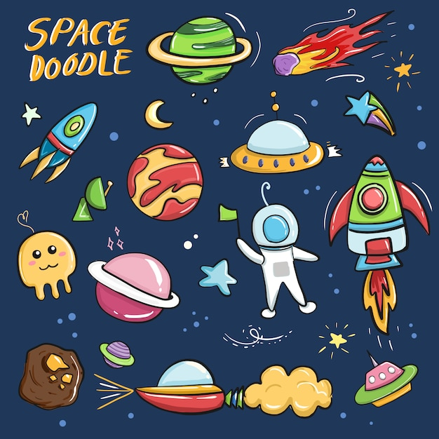 Cute colorful galaxy space doodle cartoon drawing collection set Premium Vector