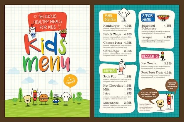 かわいいカラフルな子供の食事メニューテンプレート Premiumベクター