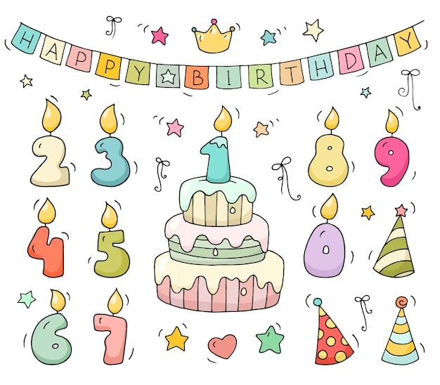 Cute colorful number shaped candles Premium Vector