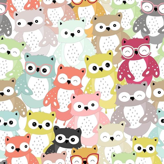 Cute colorful owl  cartoon seamless pattern. Premium Vector