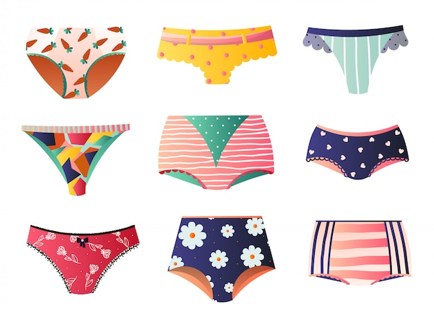 Cute colorful panties set  on white background Premium Vector