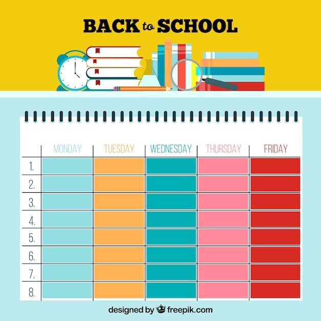 Cute Colorful School Timetable Template Vector  Free Download