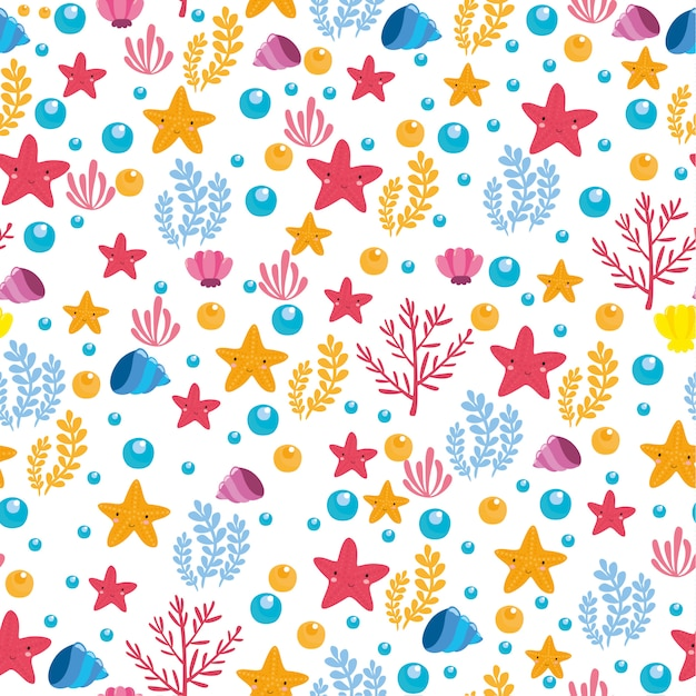 Cute and colorful sea pattern Free Vector