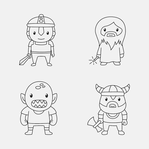 Симпатичная раскраска для детей с коллекцией мультфильмов Бесплатные векторы
