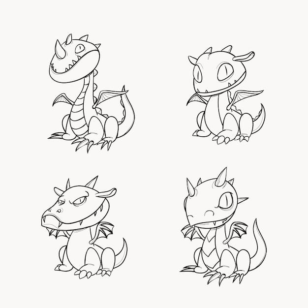 Симпатичная раскраска для детей с драконом Premium векторы