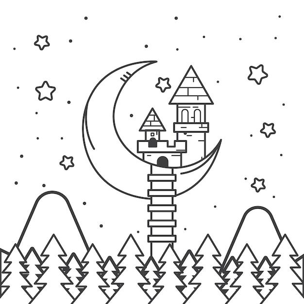 Симпатичная раскраска для детей со сказочным замком Premium векторы