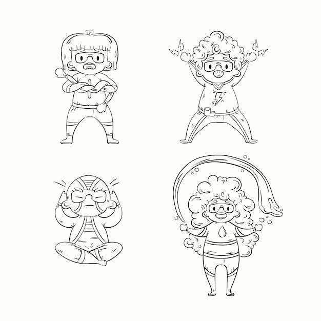 Симпатичная раскраска для детей с набором героев Бесплатные векторы
