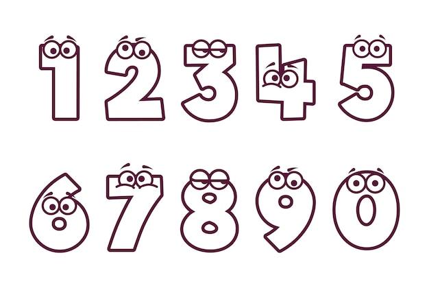 Симпатичная раскраска для детей с номерами Бесплатные векторы