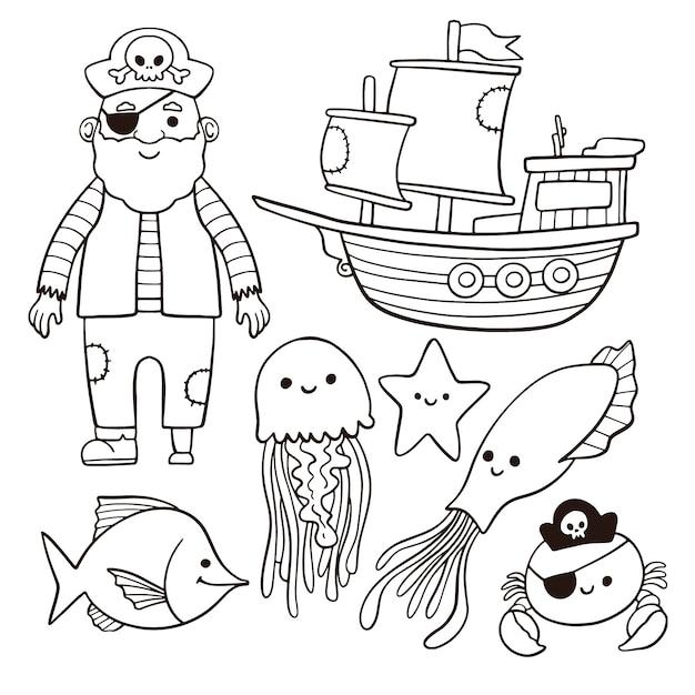 Симпатичная раскраска для детей с пиратской концепцией Бесплатные векторы