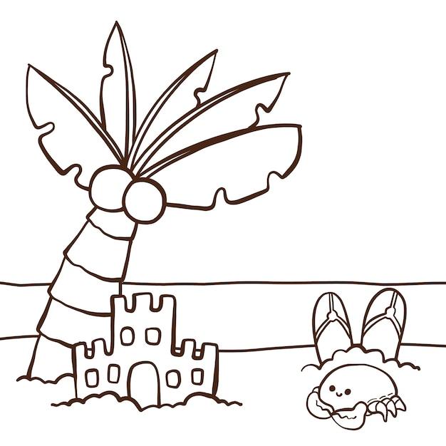 Симпатичная раскраска для детей с песочным замком Premium векторы