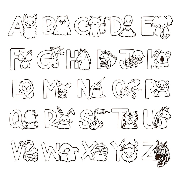 Cute coloring for kids with alphabet Premium Vector