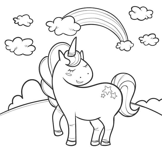Cute coloring for kids with unicorn Free Vector