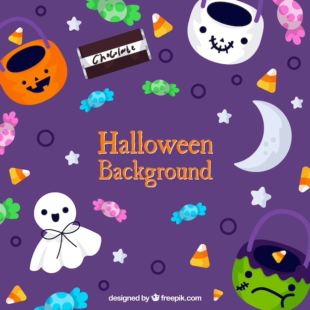 Cute colourful halloween background Free Vector