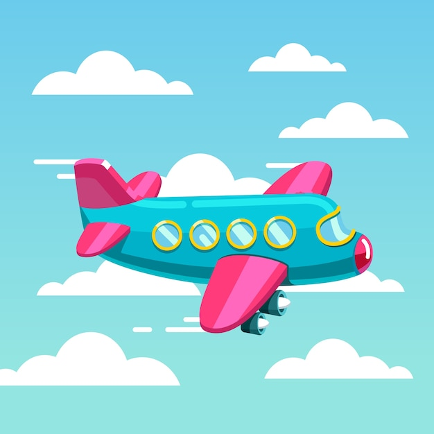 Cute comic air plane jet flying fast in the sky Free Vector