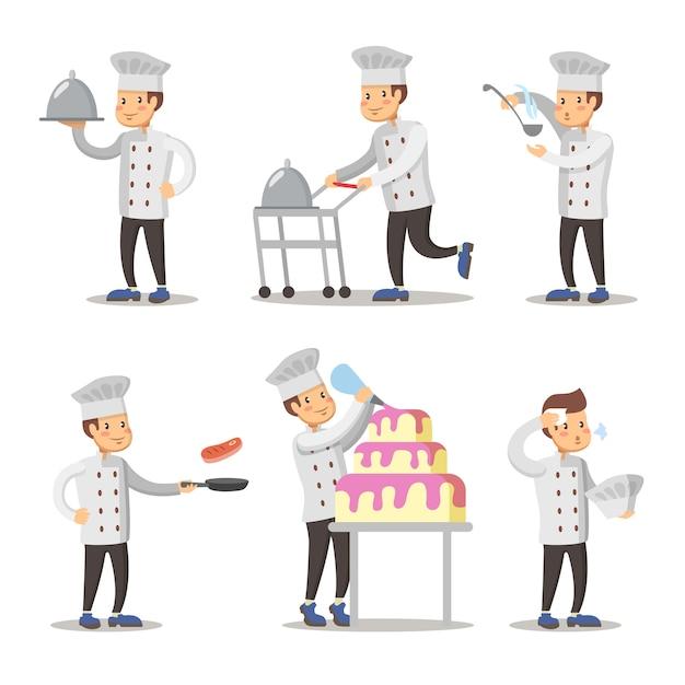 Милый повар мультипликационный персонаж набор. человек готовит. Premium векторы