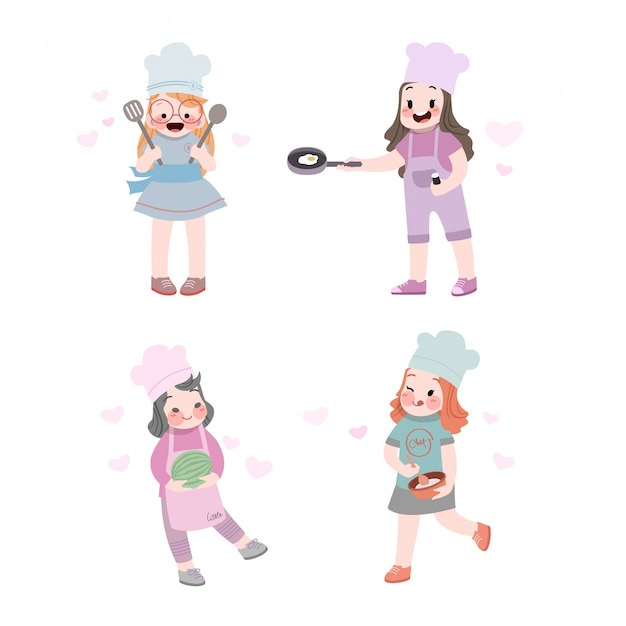 Cute cooking with pan collection Premium Vector