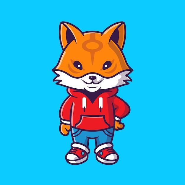 재킷 만화 벡터 아이콘 그림을 입고 귀여운 멋진 여우. 동물 패션 아이콘 개념 격리 된 벡터입니다. 플랫 만화 스타일 무료 벡터