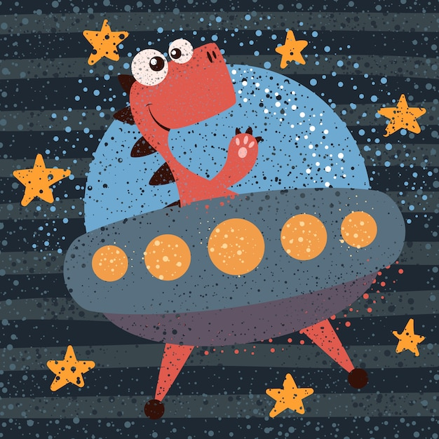 Cute, cool, pretty, funny, crazy, beautiful dino character ufo illustration Premium Vector