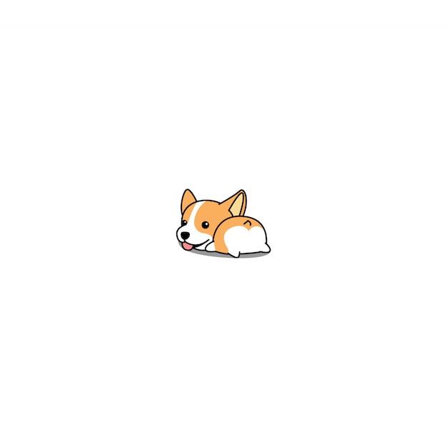 Cute corgi butt cartoon icon vector Premium Vector