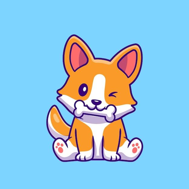 Милая собака корги ест мультфильм кости Бесплатные векторы