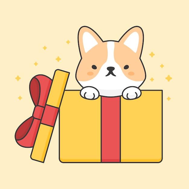 Cute corgi dog in a gift box Premium Vector